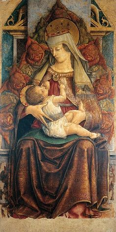 Thronende Madonna (Thronende Maria lactans) Painting by Crivelli, Carlo. Commission a beautiful hand painted reproduction of Thronende Madonna (Thronende Maria lactans). Renaissance Kunst, Renaissance Paintings, Italian Renaissance, Madonna Und Kind, Madonna And Child, Italian Painters, Italian Artist, Religious Icons, Religious Art