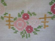 Vintage European Hand Embroidered Tablecloth $26.00