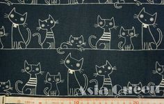 "Cats on the rope - 1 yard - cotton linen - 2 colors - ,cat fabric ,Check out with code ""5YEAR"" to save 20% off from AsiaQueencottonshop on Etsy Studio"