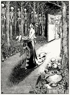 From every tree hung three or four king's sons, who had wooed the princess, but had been unable to guess her riddles. Helen Stratton, from The fairy tales of Hans Christian Andersen, Philadelphia, circa 1899. (Source: archive.org)