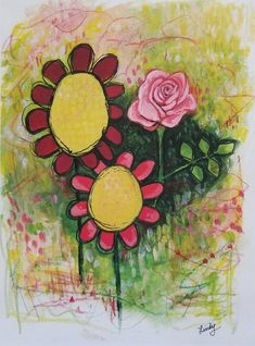 This item is unavailable Mixed Media Painting, Mixed Media Canvas, Abstract Flowers, Floral Flowers, Cute Thank You Cards, Original Paintings, Original Art, Art Mat, Whimsical Fashion
