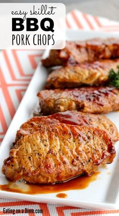 Masterpiece, Try this Easy Skillet bbq pork chops recipe. Dinner is done in… Masterpiece, Try this Easy Skillet bbq pork chops recipe. Dinner is done in just 20 minute which makes it s delicious weeknight dinner idea. Easy Skillet Meals, Easy Meals, Skillet Pork Chops, Pork Chop Dinner, Easy Pork Chop Recipes, Easy Pork Chop Marinade, Chops Recipe, Bbq Pork, Pork Dishes