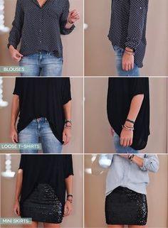 Si estás usando una blusa holgada pero no quieres lucir sin forma, haz el fajado de frente. | 23 Trucos de estilo que todas las chicas…