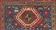 """Running Water"""" motif on a Caucasian Bordjalou Kazak Rug, circa 1875. """"Running Water,"""" conveys that water is a precious substance that sustains and nourishes life. Running water was also symbolic of the possibility of inner purification."""
