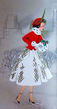 vintage christmas girl in red coat with white muff Christmas Scenes, Noel Christmas, Retro Christmas, Christmas Greetings, Christmas Crafts, Holiday Cards, Xmas, Vintage Christmas Images, Vintage Holiday