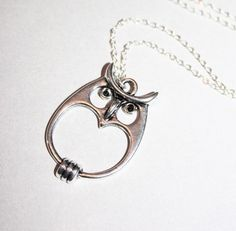 Cute Silver Owl Necklace