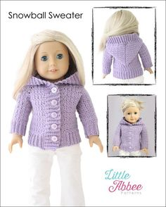 Little Abbee Snowball Sweater Doll Clothes Pattern 18 inch American Girl Dolls   Pixie Faire