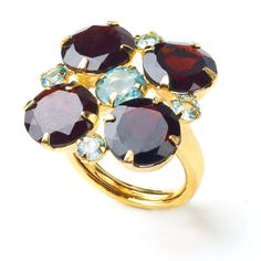 Bounkit fall 2012 - Ring with Garnet and Blue Topaz