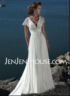 Wedding Dresses - $164.49 - A-Line/Princess V-neck Chapel Train Chiffon  Charmeuse Wedding Dresses With Ruffle  Beadwork (002000687) http://jenjenhouse.com/A-line-Princess-V-neck-Chapel-Train-Chiffon--Charmeuse-Wedding-Dresses-With-Ruffle--Beadwork-002000687-g687