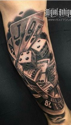 By miguel bohigues, spain tatouage poker, dice tattoo, v tattoo, poker tattoo Forearm Tattoos, Body Art Tattoos, Hand Tattoos, Sleeve Tattoos, Tattoos Skull, Casino Tattoo, Vegas Tattoo, Future Tattoos, Poker Tattoo