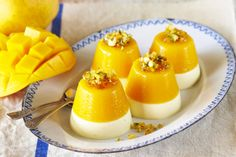 An iconic summer fruit, Mangoes make a great dessert.  It looks great and tastes fantastic, your friends will love this Mango Panna Cotta with Pistachio Praline.