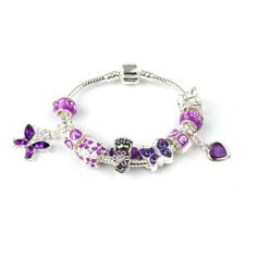 Liberty Charms Children Name Bracelet Think in Pink Silver Plated Charm//Bead Bracelet