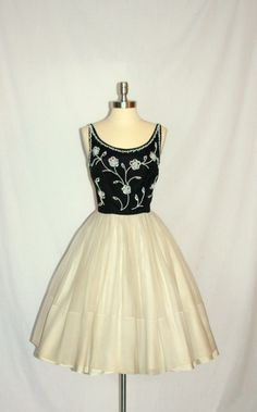 Vintage 1950's Dress - Black and White Chiffon Full Skirt Beaded Cocktail Party Frock