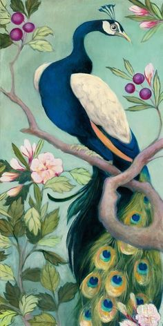"Julia Purinton ""Pretty Peacock I"" Archival Lithograph on Paper  20"" x 40"" NEW #Impressionism"