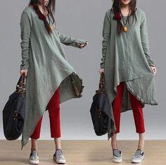 2-color Cotton shirt  Line shirt   Loose  blouse  Long sleeve top Irregular dress winter autumn spring C233