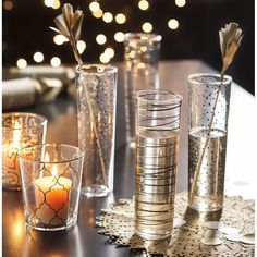 Candles poured into glass decorated like these would be beautiful for Christmas. Luxe Moderne Gold Double Old Fashioneds