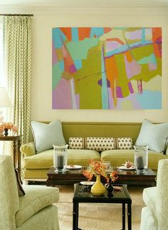 Midcentury decor paired with modern artwork | original oil paintings by Danielle Nelisse | www.daniellenelisse.com