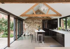 Abbey Hall is a contemporary barn conversion completed by Olivia Pomp and her husband, Gary Rowland. Abbey Hall is located in Eye, Suffolk, England. Barn Conversion Interiors, Barn Conversion Kitchen, Modern Barn House, Contemporary Barn, Contemporary Architecture, Barn Kitchen, Kitchen Rustic, Converted Barn, Barn Renovation