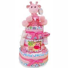 Baby Girl Safari Diaper Cake by The Gift Basket Pros and more gifts at discounted prices. Safari Diaper Cakes, Unique Diaper Cakes, Baby Girl Gift Baskets, Baby Girl Gifts, Baby Shower Cakes, Baby Shower Gifts, Baby Shower For Men, Diaper Parties, Welcome Baby Girls