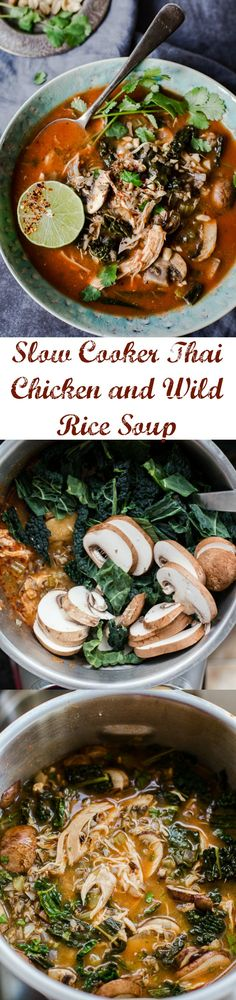 Infuse some heat and flavour into your soup! This Slow Cooker Thai Chicken and Wild Rice Soup with kale and mushrooms is so delicious and easy!