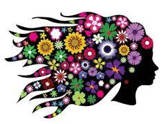 dibujo cara mujer: vector silueta cabeza con flores