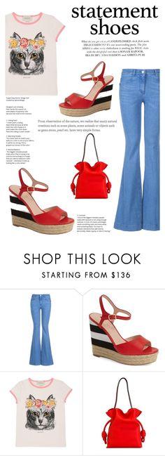 """Statement Shoes (Boho Style): Kate Spade Platform Sandals"" by elisabetta-negro ❤ liked on Polyvore featuring STELLA McCARTNEY, Kate Spade, Gucci, Loewe, boho, katespade, distresseddenim, statementshoes and statementtshirt"