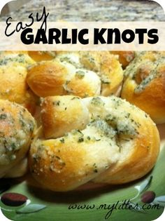 easy garlic knots recipe - made my own biscuits...would be better if made from pizza dough or crescent roll dough