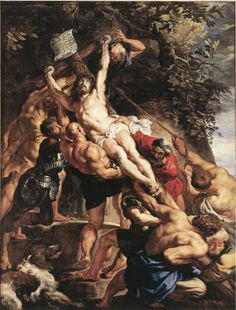 Raising of the Cross, by Peter Paul Rubens. Flemish Baroque painter, Inspired by Renaissance artists. Strong colors (inspired by Caravaggio). Painted Triptych originally for Church of St. Peter Paul Rubens, Baroque Painting, Baroque Art, Italian Baroque, Religious Paintings, Religious Art, Rubens Paintings, Pierre Paul, Renaissance Art