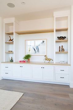 Custom Built-in with White Oak shelves - Built in shelves living room - Shelves Design Living Room, Living Room Tv, Living Room Modern, Coastal Living, Small Living, Family Room Design With Tv, Living Room White, Living Room Flooring, Kitchen Living