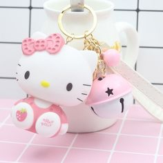 Cheap key holder, Buy Quality doll keychain directly from China bell key chain Suppliers: Cute Cartoon Pvc Cat Hello Kitty Doll Keychain Leather Rope Key Holder Metal Bell Key Chain Keyring Charm Bag Auto Pendant Gifts