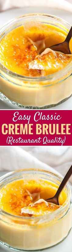Easy Creme Brulee is the perfect make-ahead dessert that will impress your guest., Desserts, Easy Creme Brulee is the perfect make-ahead dessert that will impress your guests! A silky, smooth vanilla custard topped with a layer of brittle cara. Make Ahead Desserts, Easy Desserts, Delicious Desserts, Dessert Recipes, Yummy Food, Custard Desserts, Classic French Desserts, Brulee Recipe, Vanilla Custard