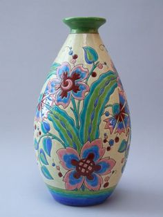 Large vase by the Belgian company of Boch Keramis.
