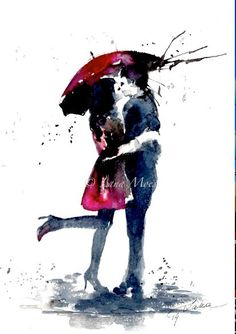 Love Kiss Red Umbrella Abstract Fashion Art Print from Original Watercolor