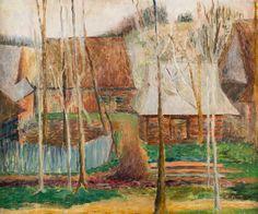 TADEUSZ MAKOWSKI (1882 - 1932)  PEJZAŻ WIEJSKI, OK. 1920   olej, sklejka / 48 x 57 cm