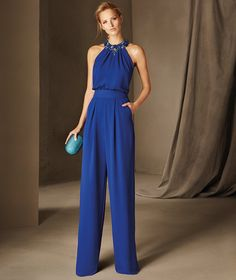 Belgica - Halter cocktail jumpsuit with gemstones on the neckline