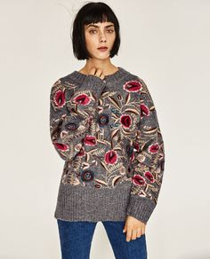 ZARA - WOMAN - FLORAL EMBROIDERED OVERSIZED SWEATER