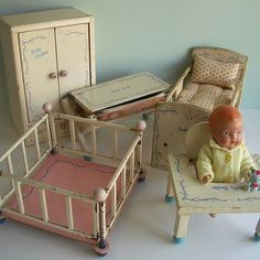 1930's baby doll with furniture.