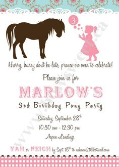 Vintage Pony Party Printable Invitation | Sweetparties - Children's on ArtFire