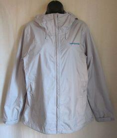 PATAGONIA Women's H2NO Waterproof Gray Windbreaker Raincoat Jacket L Large #Patagonia #Raincoat