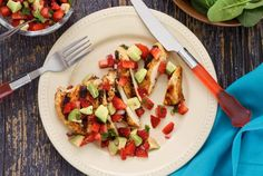 Easy paleo recipe - chicken with strawberry-avocado salsa  to make it AIP delete the peppers and chili