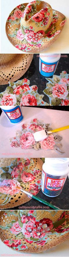 Decoupage a straw hat with Mod Podge - fab! Diy Projects To Try, Craft Projects, Deco Podge, Diy And Crafts, Arts And Crafts, Hat Crafts, Mod Podge Crafts, Diy Cadeau, Diy Sac