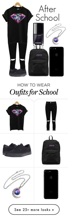 """""""After School"""" by kellyaguilera on Polyvore featuring Boohoo, JanSport, Vans, casual, school and teen"""