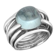 de Grisogono Aquamarine White Gold Allegra Ring | From a unique collection of vintage cocktail rings at https://www.1stdibs.com/jewelry/rings/cocktail-rings/