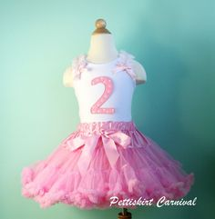 2ND BIRTHDAY LIGHT PINK PETTISKIRT POLKA DOTS TANK TOP 2PC PARTY DRESS OUTFIT #None
