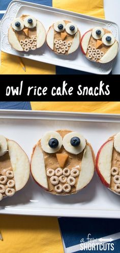 These Owl Rice Cake Snacks are a wise choice for picky eaters. Check out this simple recipe for a healthy snack for the kids! These Owl Rice Cake Snacks are a wise choice for picky eaters. Check out this simple recipe for a healthy snack for the kids! Cute Snacks, Lunch Snacks, Cute Food, Good Food, Fall Snacks, Smart Snacks, Class Snacks, Fruit Snacks, Savory Snacks