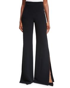 Aubree Side-Slit Wide-Leg Pants, Black