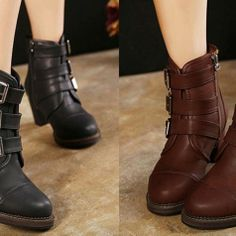 Retro Style Women's Short Boots with Buckles Chunky Heel