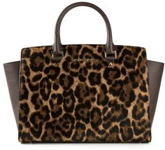 Brown Leopard Leather Tote Bag by MICHAEL Michael Kors. Buy for $560 from farfetch.com