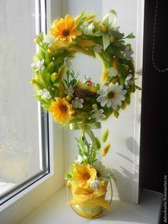 """Купить Интерьерное дерево счастья """"Утро в деревне"""") - топиарий дерево счастья, ручная работа, желтый"""