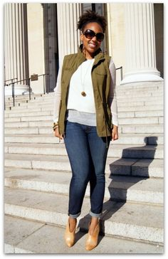 Old Navy Vest, H&M Sweater, J. Brand Jeans (#811 in Dark Worn), Vince Camuto Alexia Booties